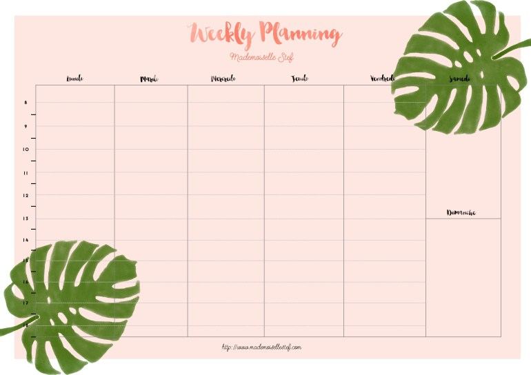 weekly planner gratuit telecharger