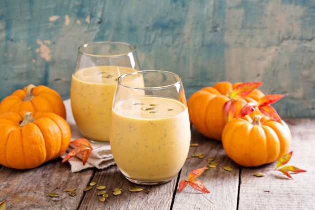 Pumpkin smoothie made with cold brew coffee