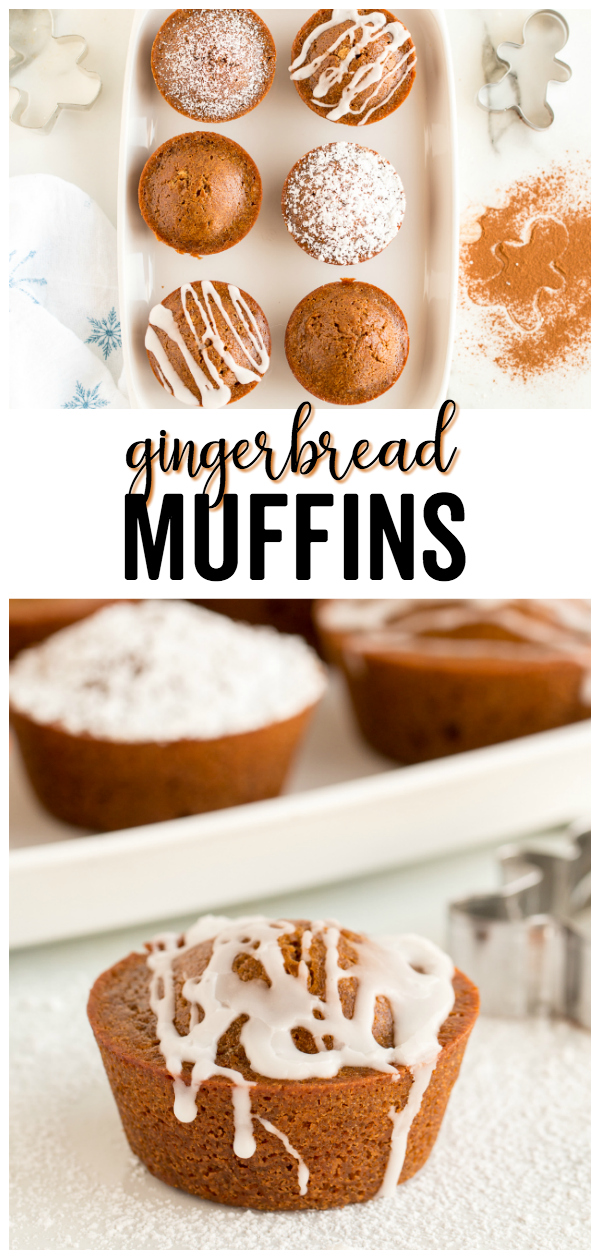 These Gingerbread Muffins are bursting with the classic holiday blend of ginger, molasses and cinnamon. Topped with a sweet drizzle, powdered sugar or left alone this is a delicious treat!