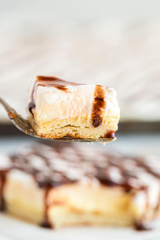 eclair cake on fork