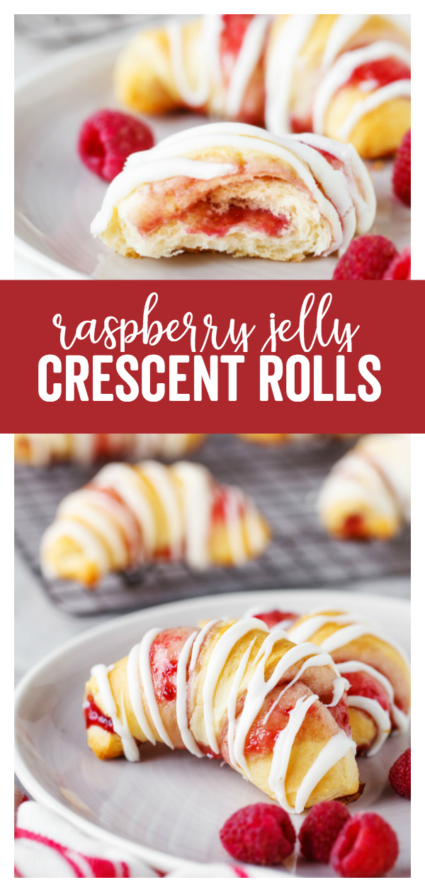Raspberry Crescent Rolls: a delicious sweet dessert that is quick to prepare and uses pre-made crescent rolls and delicious raspberry jam.