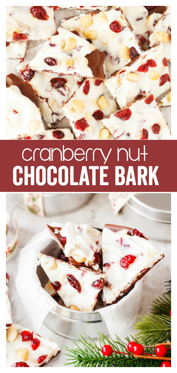 Cranberry Nut Chocolate Bark: a yummy holiday treat perfect for Christmas parties or for gifts. Layers of chocolate, white chocolate, and cranberries makes this a delicious treat to eat!