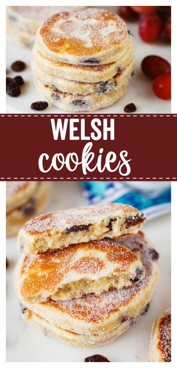Welsh Cookies: a delicious pancake type cookie filled with currants, cooked on a griddle, and dusted with fine sugar.