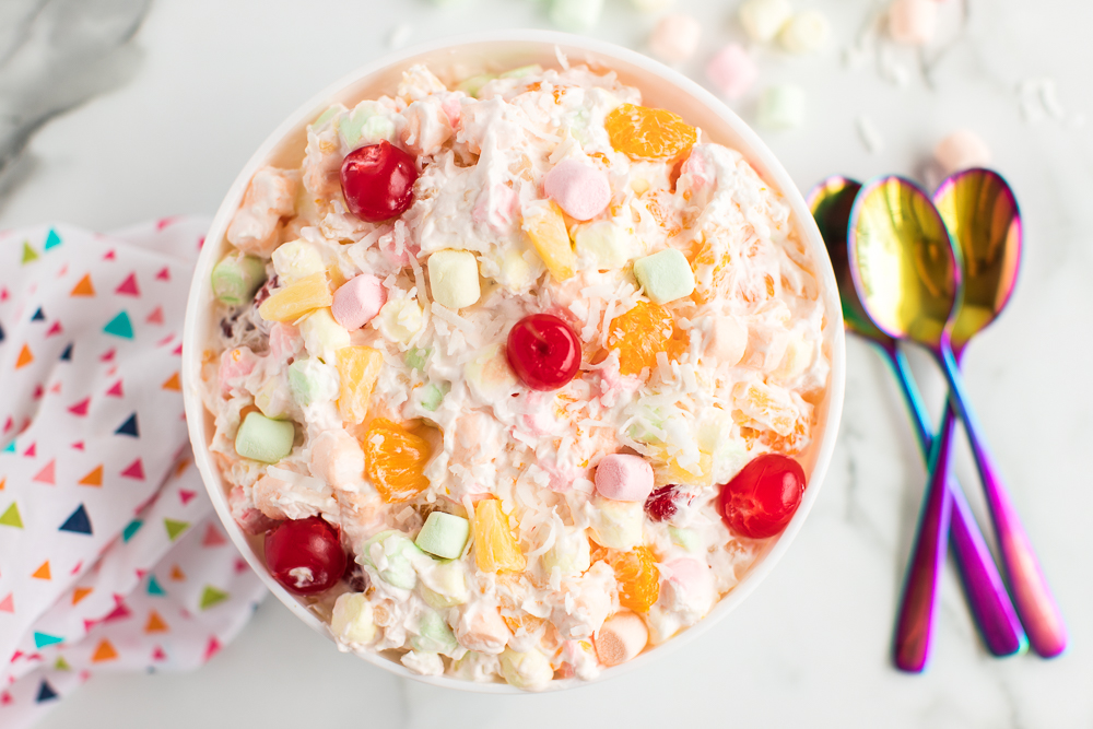 ambrosia salad in large serving bowl