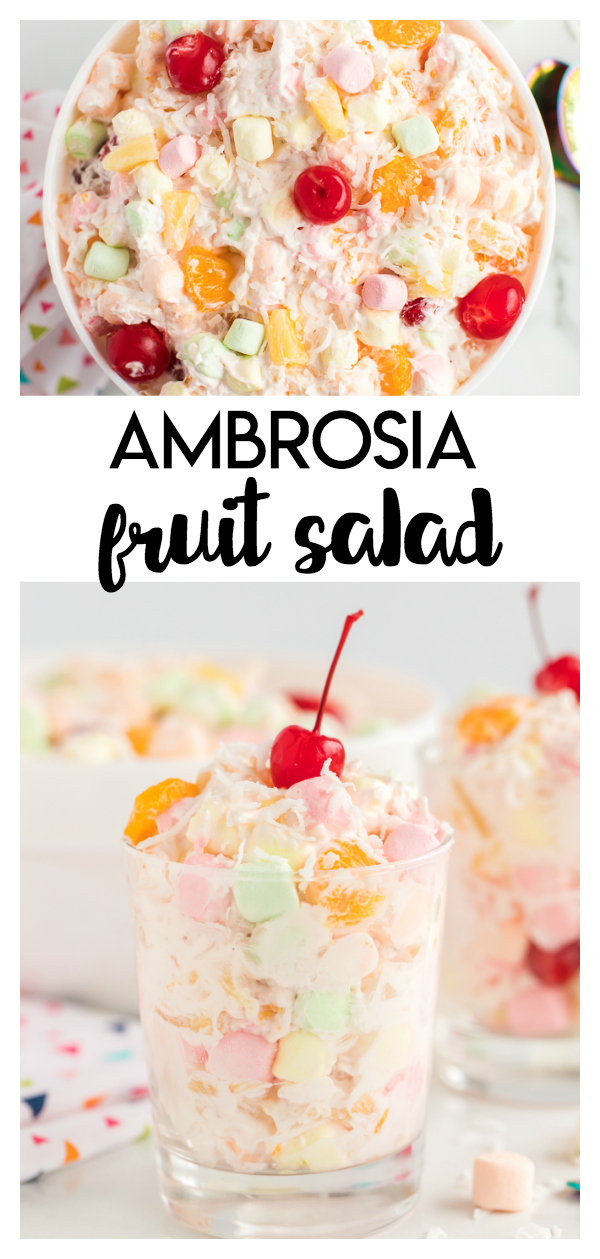 Ambrosia Fruit Salad: a simple and delicious fruit salad that is combined with sweet whipped topping and sprinkled with shredded coconut. Great for large gatherings, picnics and more!