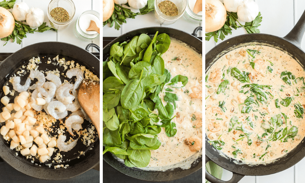 process to make creamy seafood pasta