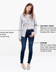 Measuring guide also madewell denim and jeans size charts rh