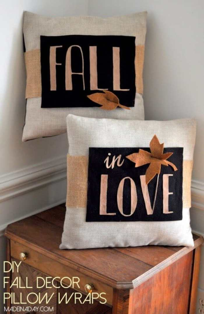 DIY Fall Decor Pillow Wraps - Made in a Day | 15 DIY Fall Crafts | www.madewithHAPPY.com