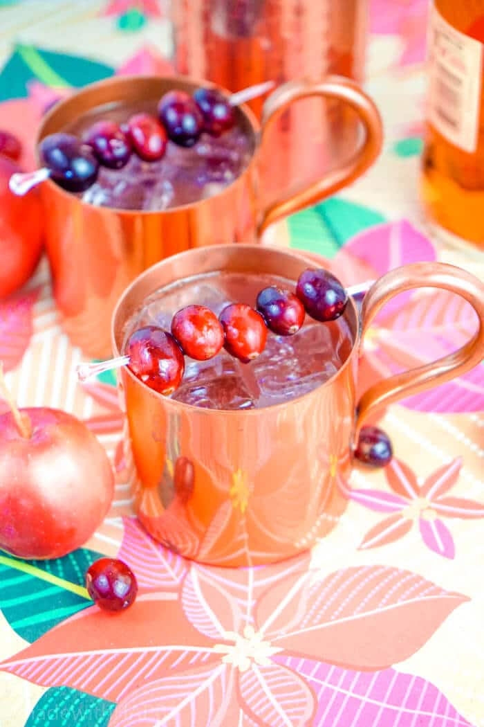 Cranberry Apple Mule Cocktail. Holiday Party Cocktail Ideas. Christmas Cocktail Recipes. Moscow Mules made with Rum. Cranberry Apple Mule Made with Rum. www.madewithhappy.com