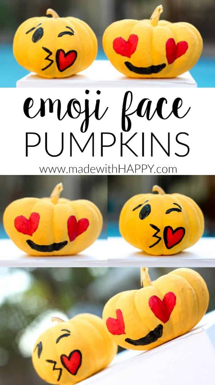 These sweet emoji pumpkins are great way to add LOL to Halloween without having to carve a single pumpkin.