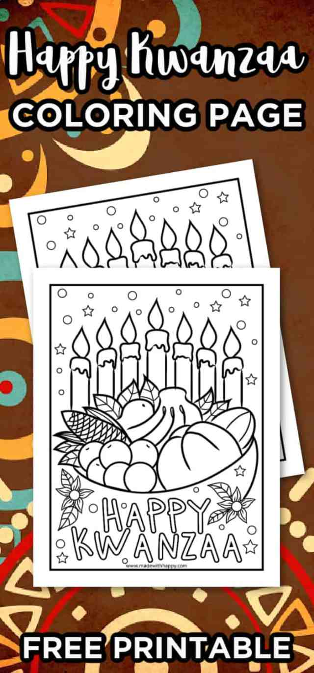 Happy Kwanzaa Coloring Page - Made with HAPPY