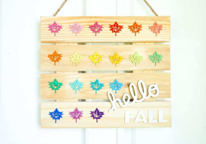 Fall DIY Sign. Colorful Hello Fall Wood Sign. Fall DIY SIgn welcoming Fall. Rainbow Home Decor. www.madewithhappy.com