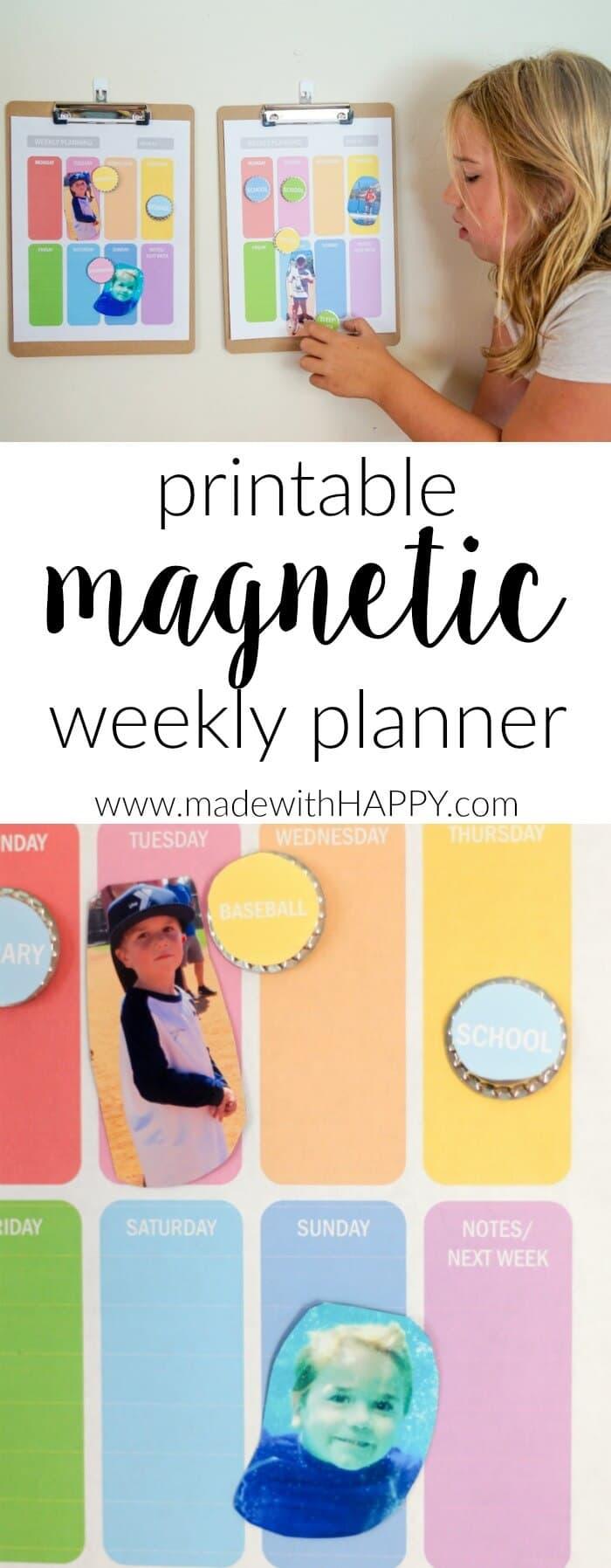 Printable Magnetic Weekly Planner .  Printable Kids Planners.  Get your kids organized this school year.  Family organization and magnetic weekly planners.