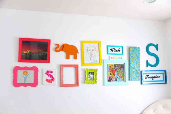 Rainbow Gallery Wall   Bright and colorful decoration ideas. Fun bright gallery walls   Colorful wall ideas   www.madewithhappy.com