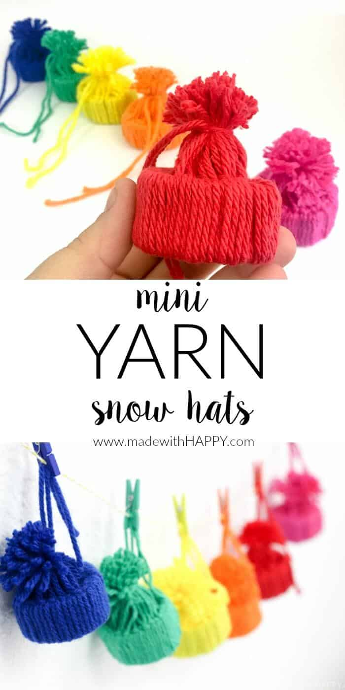 Mini Yarn Snow Hats | Yarn Projects | Yarn Kids Crafts | Simple Yarn Crafts | Toilet Paper Roll Crafts | Simple Kids Crafts | www.madewithhappy.com