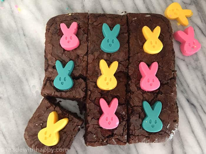 Chocolate Peep Brownies | Easter Desserts | Desserts made with peeps | Simple Easter Desserts | Semi-homemade Easter Desserts | Bunny Dessert Ideas | www.madewithhappy.com