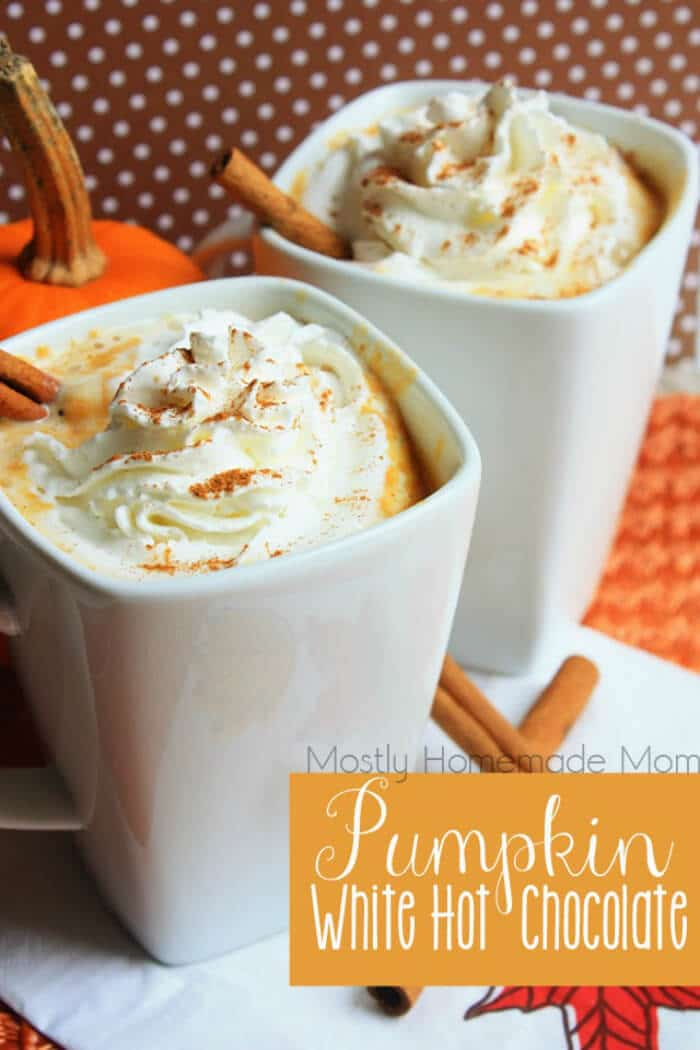 Pumpkin White Hot Chocolate | 20+ Fall Cocktail Recipes | Holiday Entertaining with Fall Recipes | Pumpkin, apple and cinnamon cocktails | www.madewithHAPPY.com