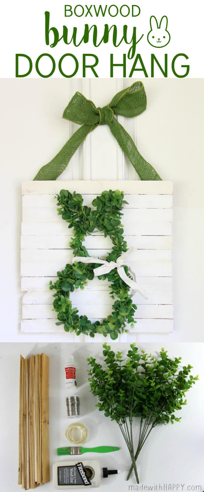 Boxwood Bunny Door Hang | Simple Easter Decor | Bunny Wreath | www.madewithHAPPY.com