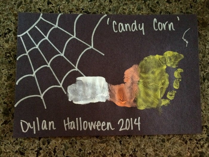 Kids Halloween Crafts   Candy Corn Foot Prints   Preschool Kids Crafts   Last minute Halloween Fun!   www.madewithhappy.com