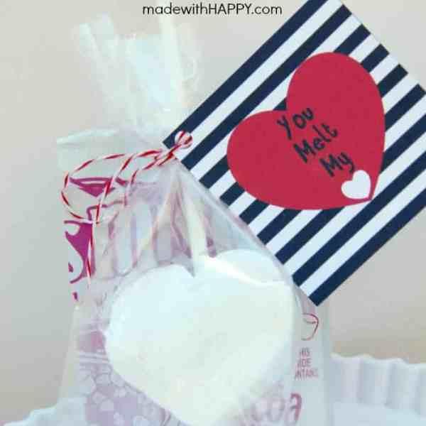 Homemade Marshmallow Valentines + Free Printable