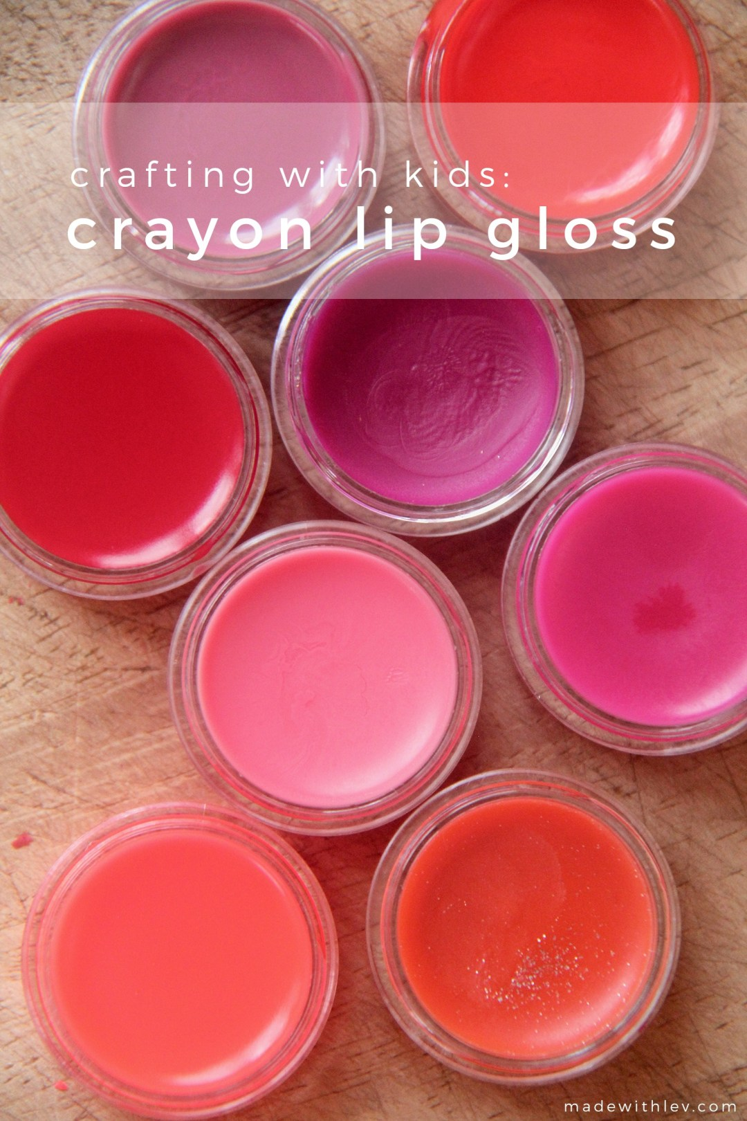 Crafting with kids: a 2-ingredient lip gloss made with crayons! | #diy #crafting #craftingwithkids #lipgloss #homemadelipbalm #lipbalm #crayons #kidscrafts #shescrafty