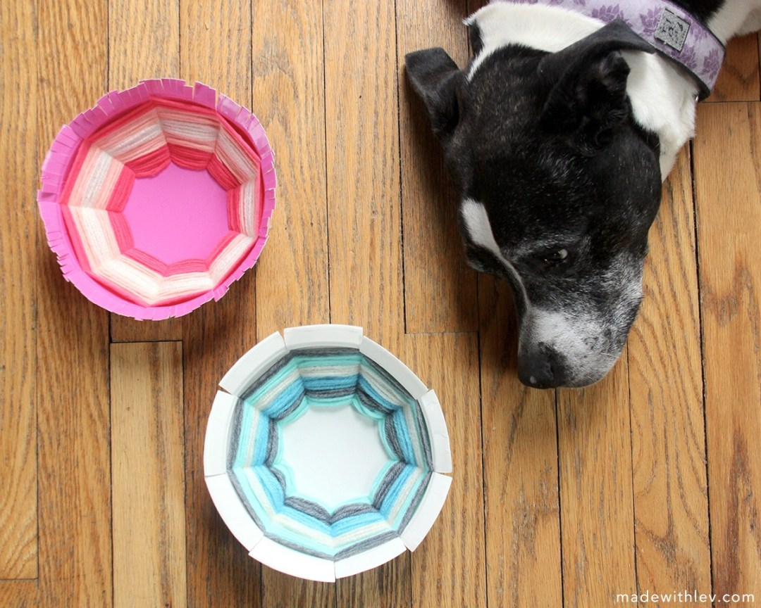 We made woven bowls from The Kitchen Table Classroom on Day 2 of our 100 Day Project. #wovenbowls #kidscrafts #yarncrafts #paperplatecraft