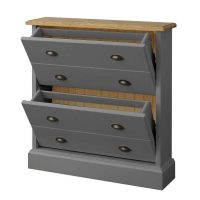 Mottisfont Grey Painted Pine Furniture Shoe Storage ...