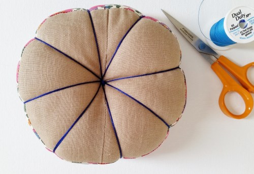 Vintage Feedsack Patchwork Pincushion View From Bottom