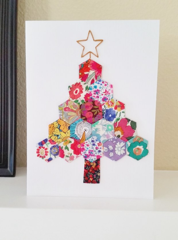 Mad For Fabric - Hexie Christmas Tree Card
