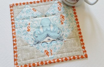 Mad For Fabric - Tula Saltwater Heather Ross Seahorse Mug Rug