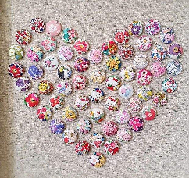 Mad For Fabric - Fabric Push Pin Heart Art Close Up