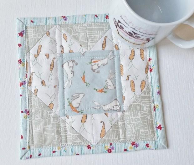 Mad For Fabric - Fussy Cut Heart Block Darling Little Dickens Fabric Mug Rug