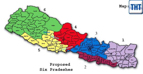 The Six Federal States Proposed by a Coalition of Four Major Political Parties in Nepal. Image Source: The Himalayan Times
