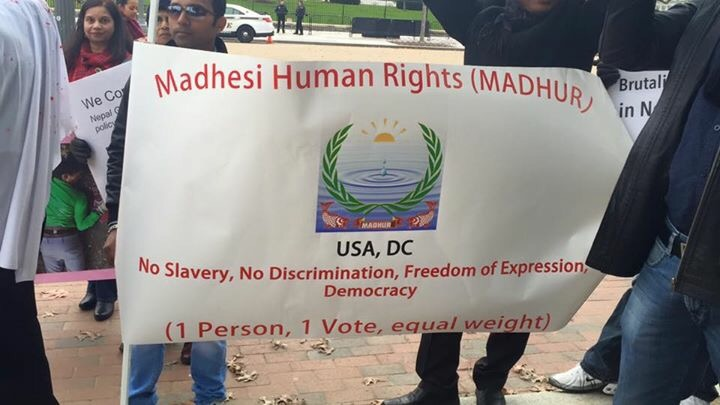Banner of Madhesi Human Rights (MADHUR), one of the organizers. Photo by: Pradeep Thapa
