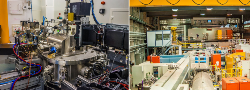 Performing Nanoscale phase resolved tomography using synchrotron X-rays in France. right: At the swiss spallation neutron source, where the Protons are accelerated and collided generating neutrons, Switzerland.