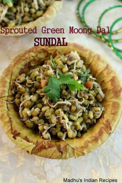 sprouted green moong dal sundal as neivedyam for navratri