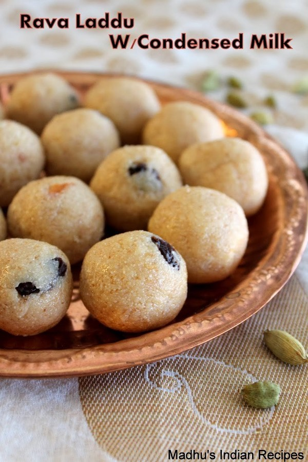 rava laddu with condensed