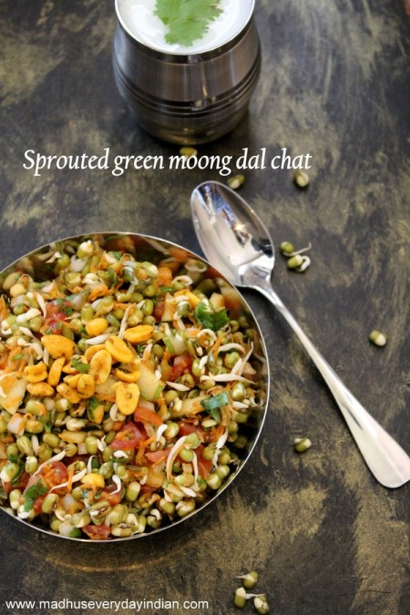 moong dal chat, chat recipes, moong chat, healthy chat