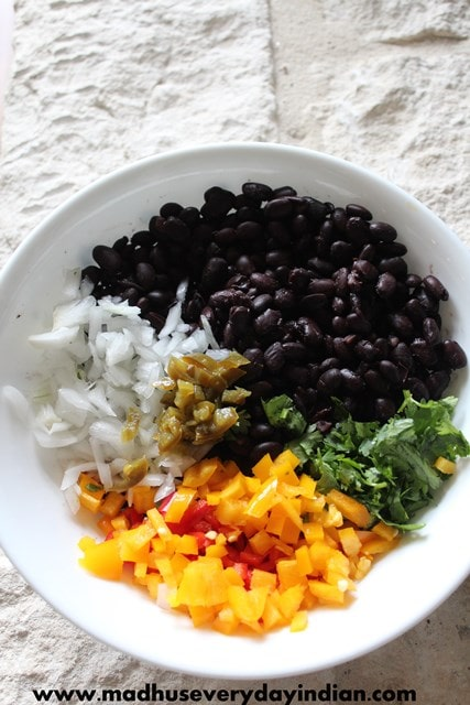Healthy black bean salad recipe- easy and healthy black bean salad ready in ten minutes.Serve it as a salad or as a side with the main course side or as a dip with tortilla chips.