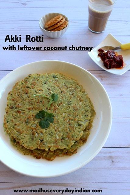 akki rotti with left over coconut chutney. rice flour roti with left over chutney is a popular and staple karnataka breakfast and snack recipe. #rotti #akki #riceflour #leftover #karnataka