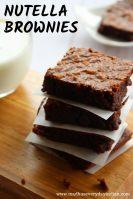 3 ingredients nutella brownies served with cold milk