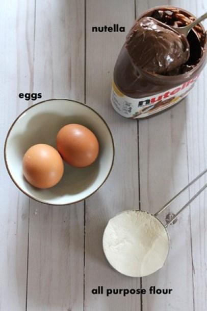 nutella brownie ingredients- nutella, eggs, all purpose flour