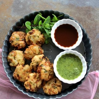 poha vada served with mint and date chutney