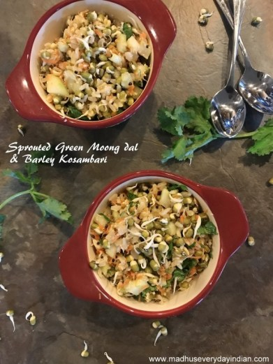 moong dal, barley kosambari (salad)