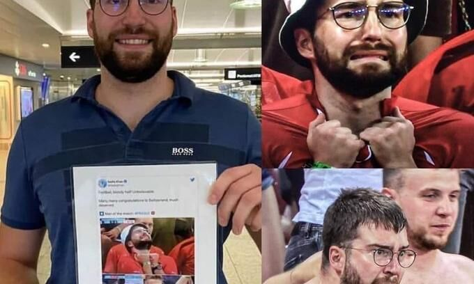 The super viral Swiss fan got a free ticket to Russia to watch the quarter finals  Viral Swiss Super-Fan Receives Free Business Class Flights For Euro 2020 Quarter-Final With Spain