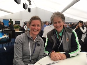 Angela Howe of the R&A's Heritage Department talks archives with Patricia