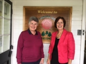 Sue Gartland, ladies' captain of Whittington Heath with Anne Bromley, sec/manager Formby Ladies