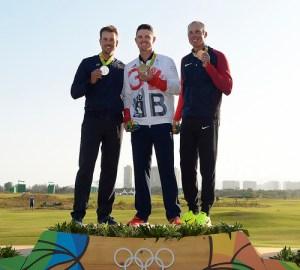 Olympic champion Justin Rose with Henrik Stenson and Matt Kuchar.