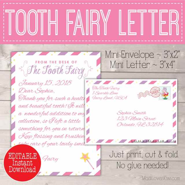 Tooth Fairy Letter With Envelope