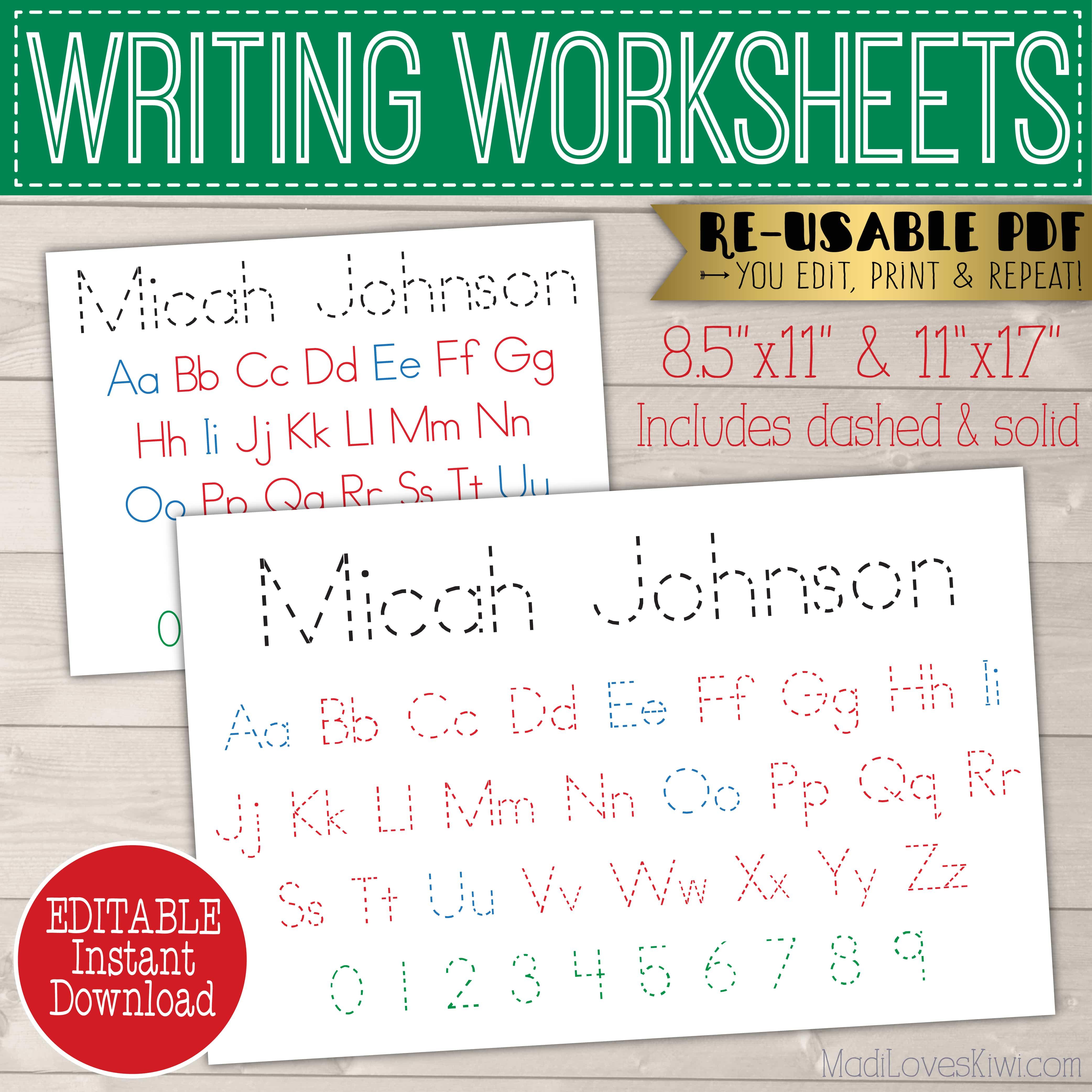 Printable Alphabet Worksheet Editable Name Placemat